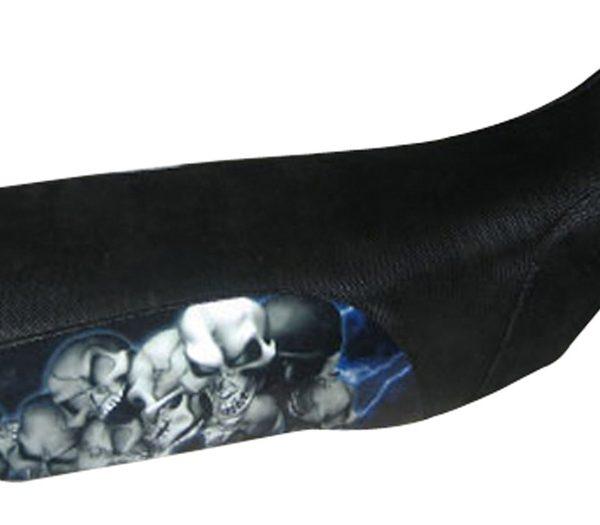 Blue Lightning Skull Pile ATV Seat Cover