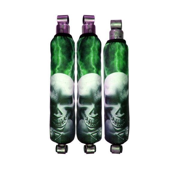 Green Lightning Skull Pile Shock Cover